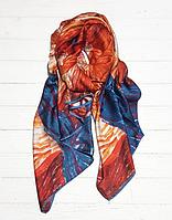"""Шелковый шарф """"Звездная ночь"""" (Ван Гог), 190*100 см, терракотовый"""