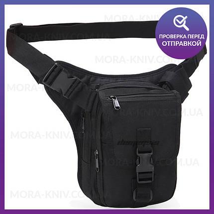 Тактическая универсальная (набедренная) сумка на бедро (на пояс) под пистолет Black (9001-black), фото 2