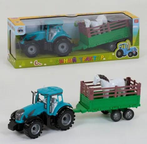 Синий трактор с прицепом с ЖИВОТНЫМИ, игрушка из мультика ...