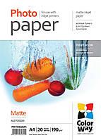 Фотобумага ColorWay, матовая, А4, 190 г/м2, 20 листов (PM190020А4)