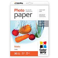 Фотобумага ColorWay, матовая, А6 (10х15), 190 г/м2, 50 листов (PM1900504R)