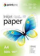 Фотобумага PrintPro, глянцевая, А4, 180 г/м2, 500 листов (PGE180500А4)