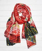 """Шелковый шарф """"Звездная ночь"""" (Ван Гог), 190*100 см, кармин"""