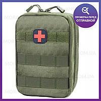 Тактическая универсальная (поясная) сумка - подсумок, аптечка Mini warrior с системой M.O.L.L.E (1020-olive)