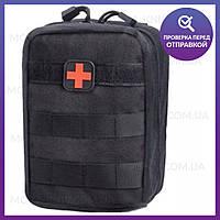 Тактическая универсальная (поясная) сумка - подсумок, аптечка Mini warrior с системой M.O.L.L.E (1020-black)