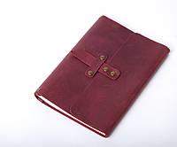 Кожаный блокнот А5 «Nota5 Marsala» женский Бордовый (21x15 см) ручной работы от pan Krepko