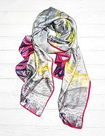"""Шелковый шарф """"Звездная ночь"""" (Ван Гог), 190*100 см, серый"""