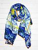 """Шелковый шарф Fashion """"Звездная ночь"""" (Ван Гог) 190*100 см голубой"""