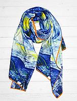 """Шелковый шарф Fashion """"Звездная ночь"""" (Ван Гог) 190*100 см голубой, фото 1"""