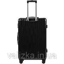 Великий чемодан з полікарбонату преміум серії W-5223 на 4х подвійних колесах з ТСА замком чорний, фото 2