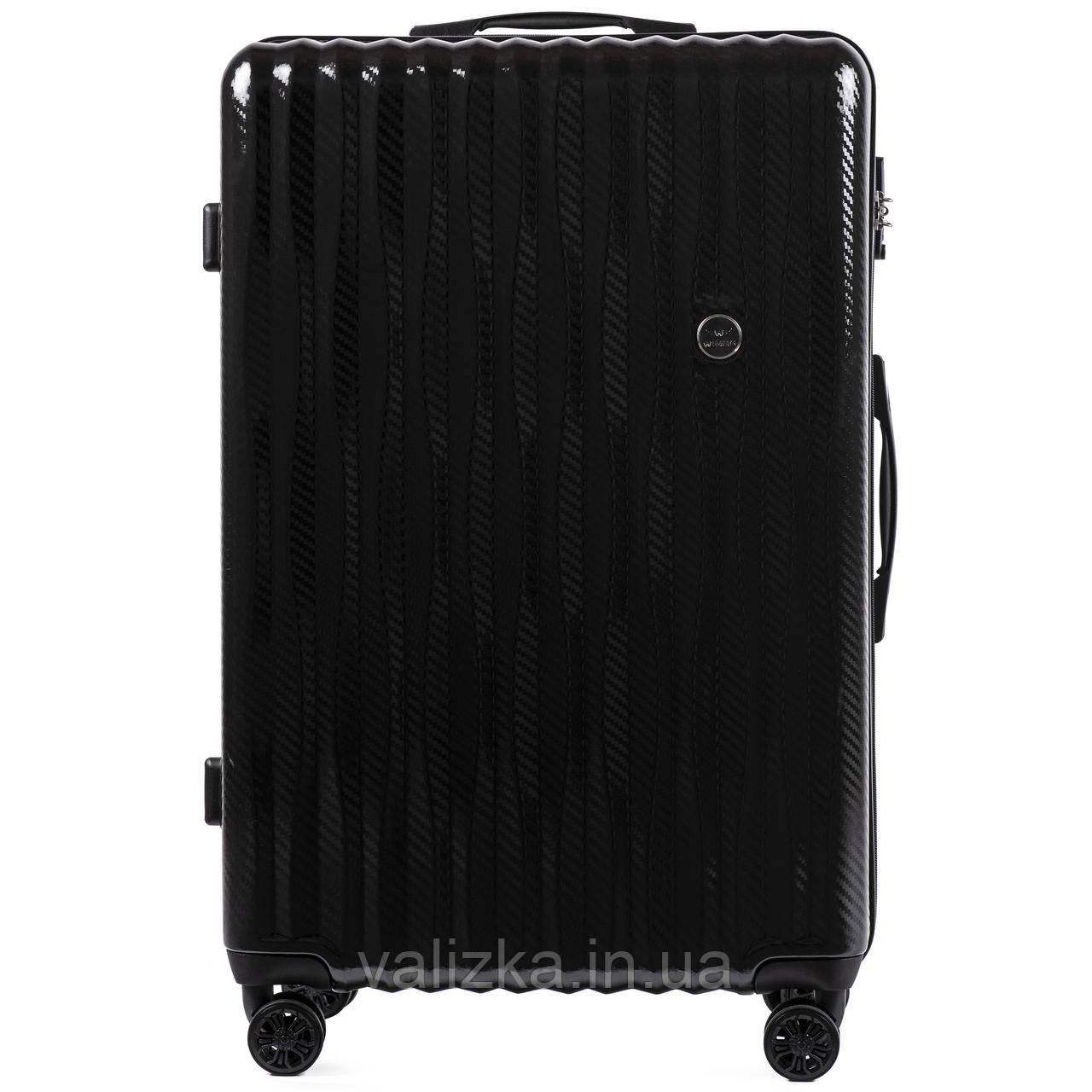 Великий чемодан з полікарбонату преміум серії W-5223 на 4х подвійних колесах з ТСА замком чорний