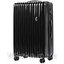 Великий чемодан з полікарбонату преміум серії W-5223 на 4х подвійних колесах з ТСА замком чорний, фото 3