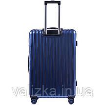 Большой чемодан из поликарбоната премиум серии W-5223 на 4х двойных колесах с ТСА замком синий, фото 3
