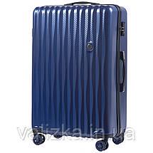 Большой чемодан из поликарбоната премиум серии W-5223 на 4х двойных колесах с ТСА замком синий, фото 2