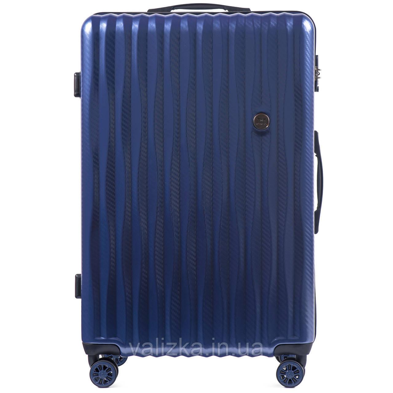 Большой чемодан из поликарбоната премиум серии W-5223 на 4х двойных колесах с ТСА замком синий