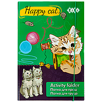 Папка для труда картонная на резинке А4+ Zibi HAPPY CAT