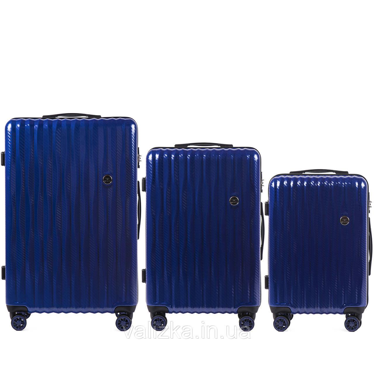 Комплект з полікарбонату преміум серії W-5223 3 штуки для ручної поклажі, середній і великий темно-синій