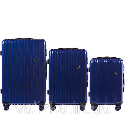 Комплект з полікарбонату преміум серії W-5223 3 штуки для ручної поклажі, середній і великий темно-синій, фото 2