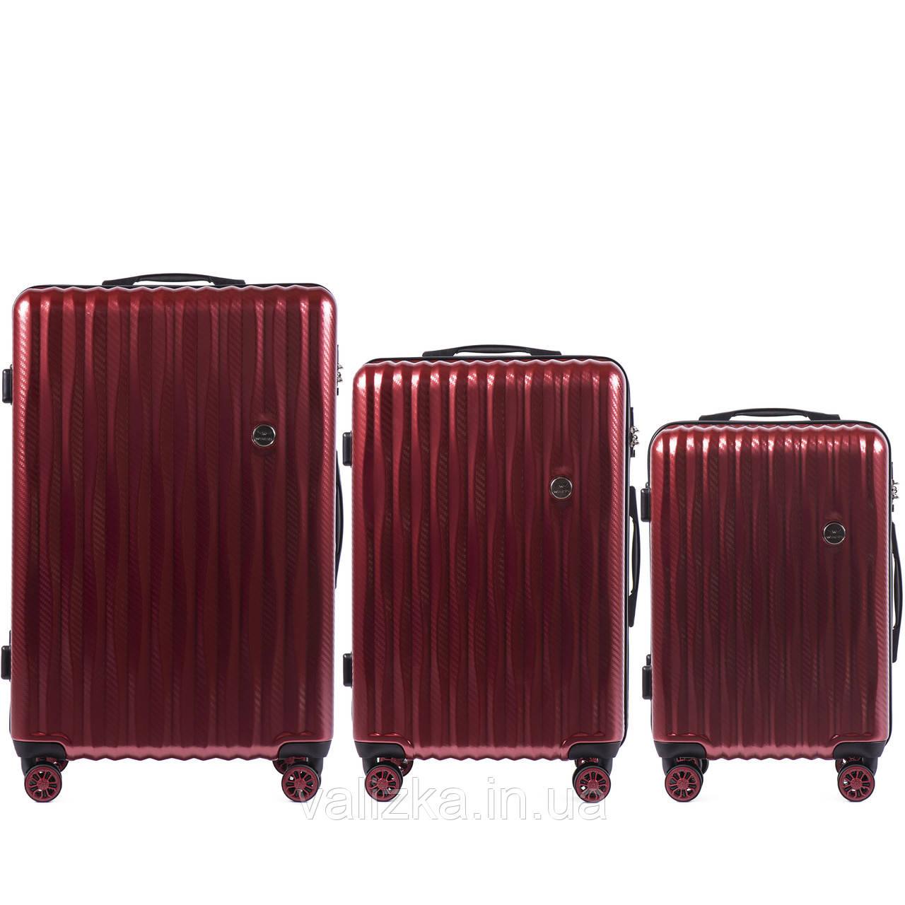 Комплект чемоданов из поликарбоната премиум серии W-5223 3 штуки для ручной клади, средний и большой бордовый