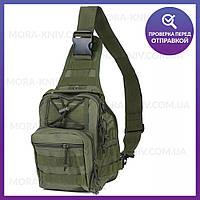 Рюкзак однолямочный 7 литров, тактическая военная сумка Olive (095-olive)
