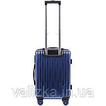 Малый чемодан из поликарбоната W-5223 премиум серии для ручной клади на 4-х двойных колесах синего цвета, фото 3