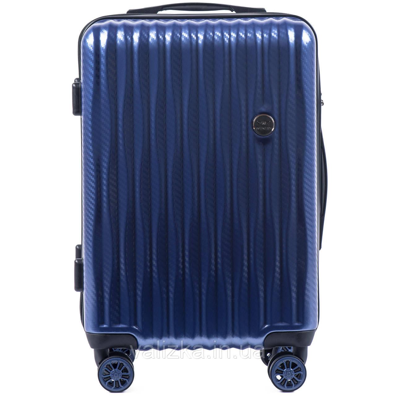 Малый чемодан из поликарбоната W-5223 премиум серии для ручной клади на 4-х двойных колесах синего цвета