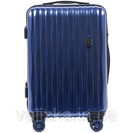 Малый чемодан из поликарбоната W-5223 премиум серии для ручной клади на 4-х двойных колесах синего цвета, фото 2