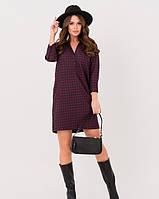 Бордовое теплое платье-рубашка в клетку прямого свободного кроя M