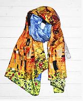 """Шелковый шарф Fashion """"Поцелуй"""" (Климт) 190*100 см голубой"""
