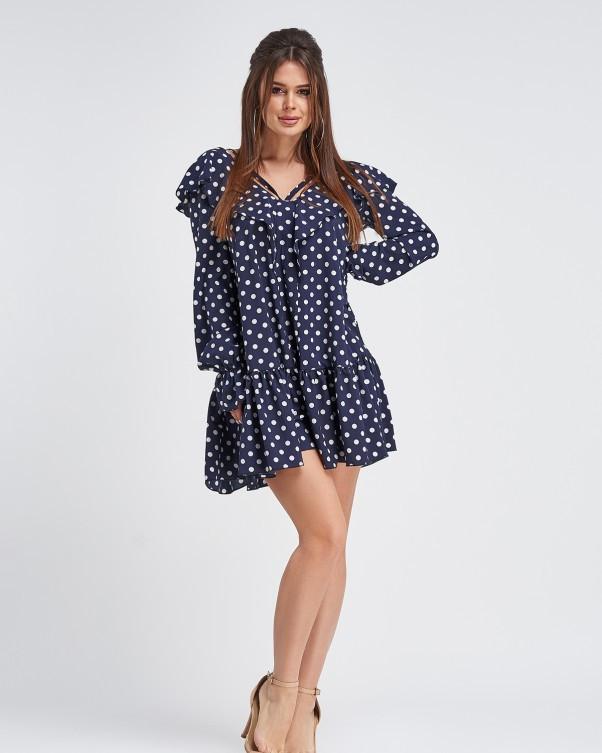 Синее свободное платье в горошек (S M L XL)
