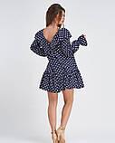 Синее свободное платье в горошек (S M L XL), фото 3