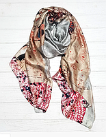 """Шелковый шарф Fashion """"Поцелуй"""" (Климт) 190*100 см серый/пудровый, фото 1"""