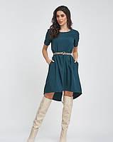Зеленое ассиметричное платье до колен из софта S