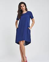 Синие ассиметричное платье до колен из софта M