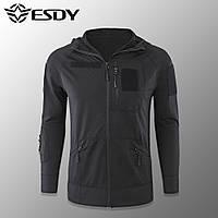"""🔥 Тактическая кофта худи """"Esdy - Hudi Microfleece"""" (черная) тактическая, кофта полиции, полицейская форма"""