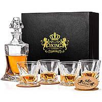 Премиум набор для виски - Декантер для виски и 4 стакана YKING LONDON