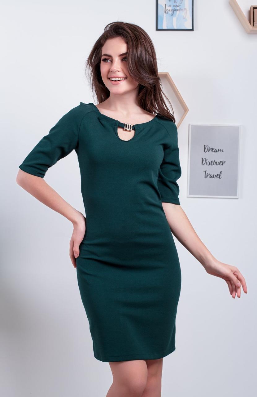 Модное платье с брошью р. 42,44,46,48 Бутылка