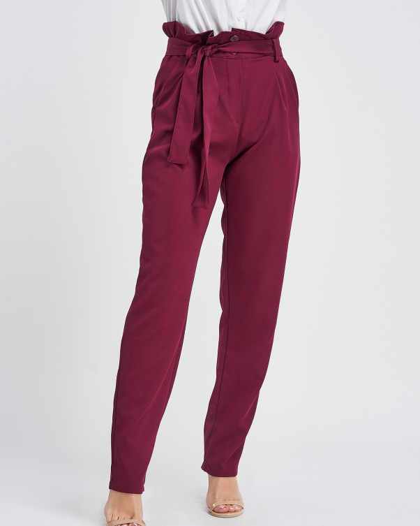 Бордовые брюки-бананы с рюшами на поясе