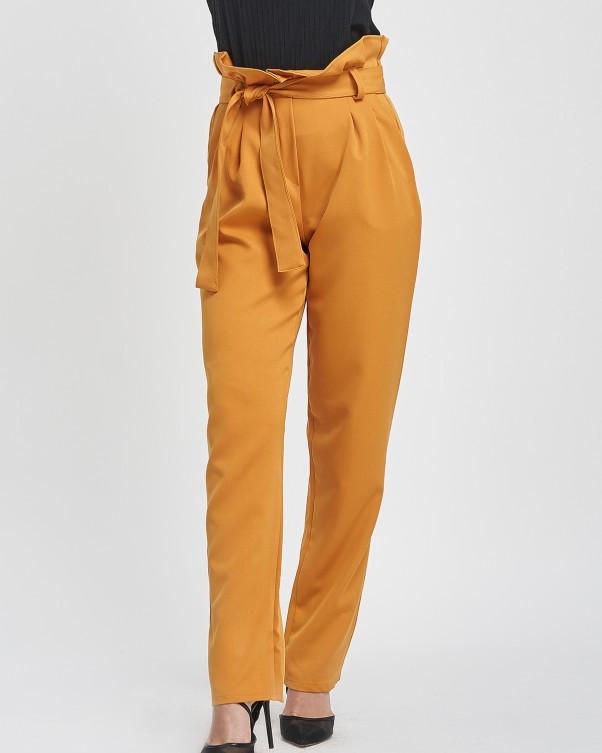 Горчичные свободные брюки с высокой посадкой