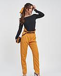 Горчичные свободные брюки с высокой посадкой, фото 3