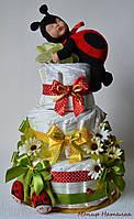 """Оригінальний подарунок на виписку новонародженого. Торт з памперсів """"Сонечко"""""""