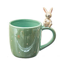"""Керамическая кружка """"Пасхальный кролик"""" 400 мл (перламутровый мятный цвет), фото 1"""
