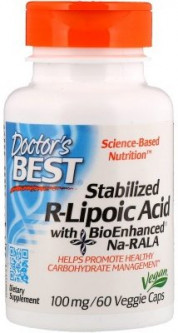 Doctor's BEST	Активное долголетие	Stabilized R-lipoic Acid 100 mg	60 veg caps