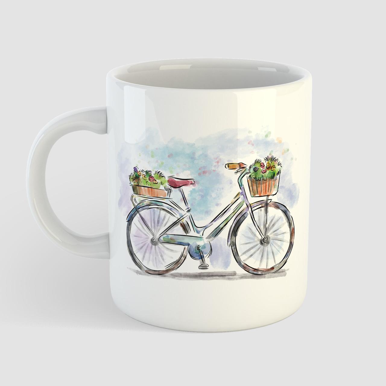 Кружка с принтом Велосипед арт 2. Чашка с фото