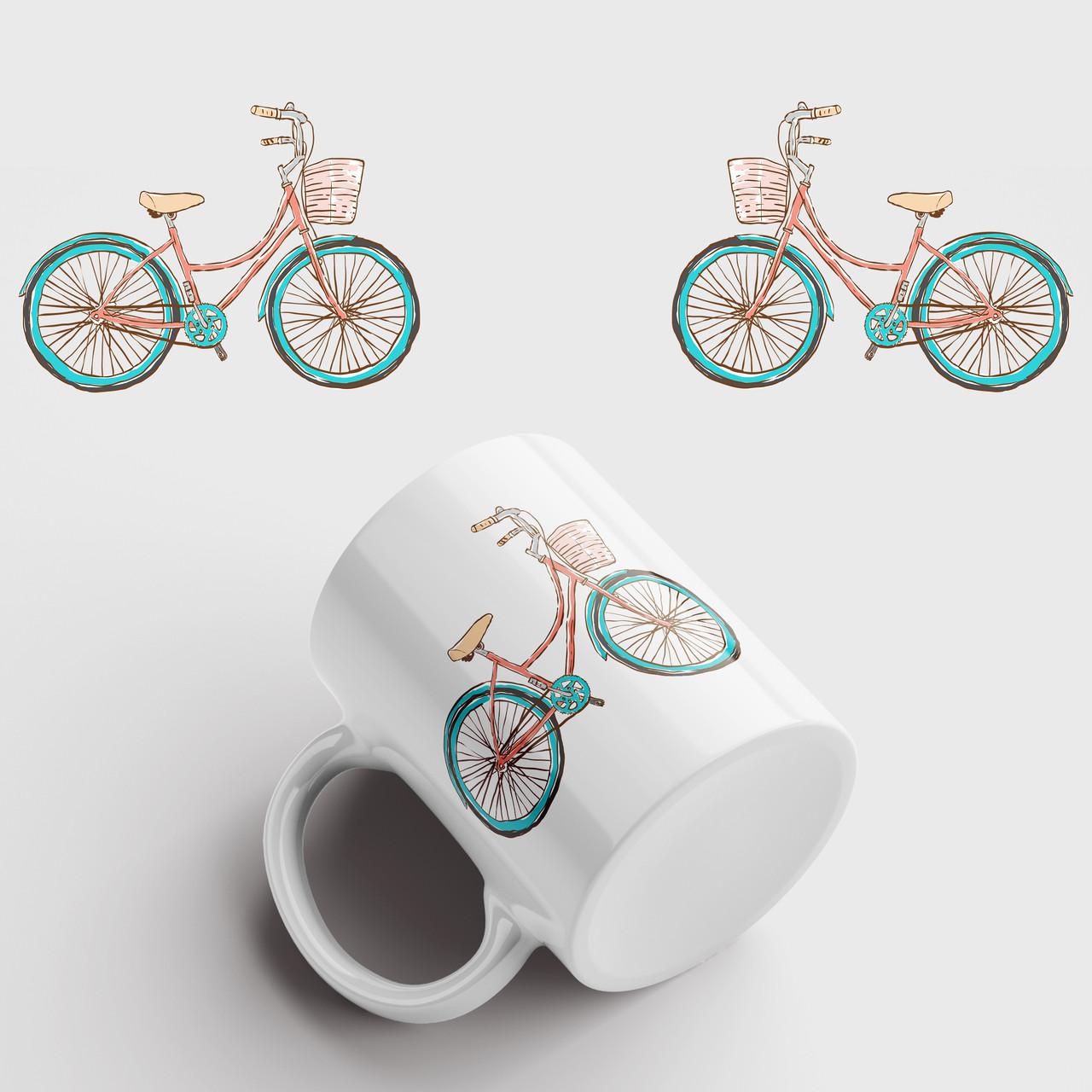 Кружка с принтом Велосипед арт 3. Чашка с фото