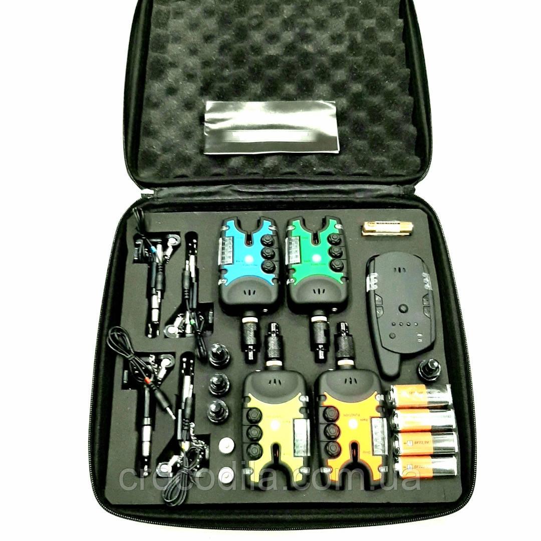 Набор электронных сигнализаторов поклевки с пейджером  и системой антивор 12+1 с батами и быстросъёмниками