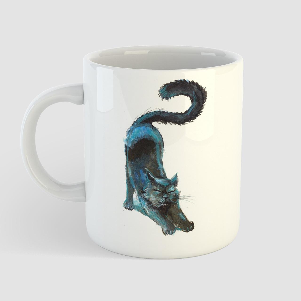 Кружка с принтом Кот арт. Cat art. Чашка с фото