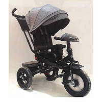 Детский трехколесный велосипед. пульт, МР3, цвет светло серый. Turbo Trike M 4060HA-19T