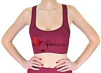 Женский тренировочный топик бордового цвета с перфорацией