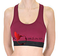 Женский тренировочный топик бордового цвета
